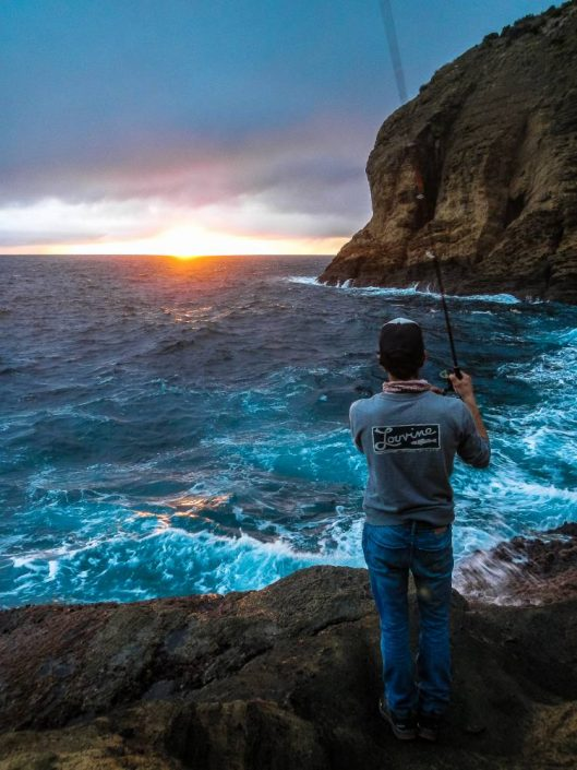 Sunset fishing from the azores island shore