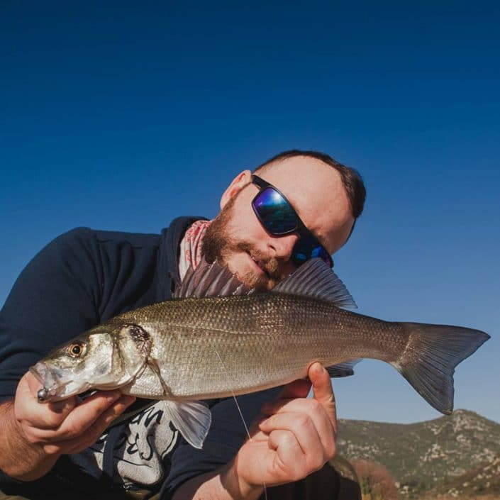 Team Sakura croatia with a bass caught in south croatia at Neretva river mouth