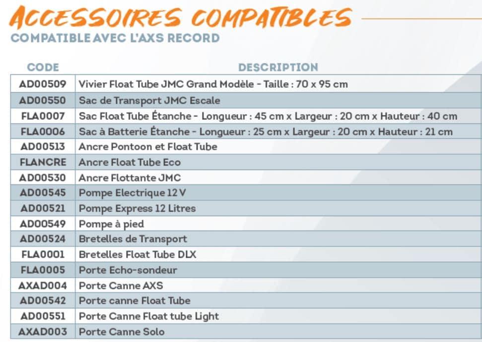 Accessoires pour float tube AXS Record Sparrow