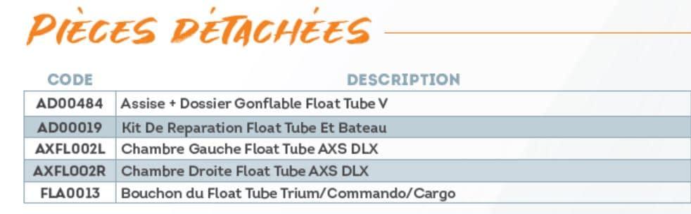 Pièces détachées float tube AXS DLX Sparrow