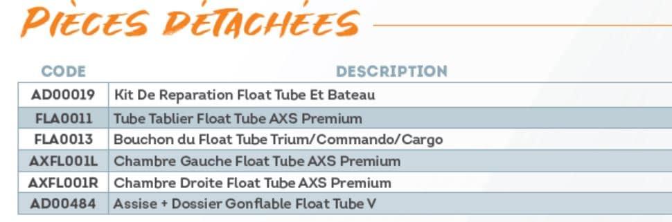 Pièces détachées float tube AXS Record Sparrow