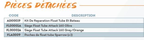 Pièces détachées float tube Sparrow ATTACK