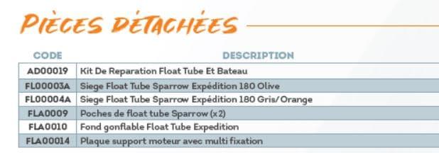 Pièces détachées float tube Sparrow EXPEDITION
